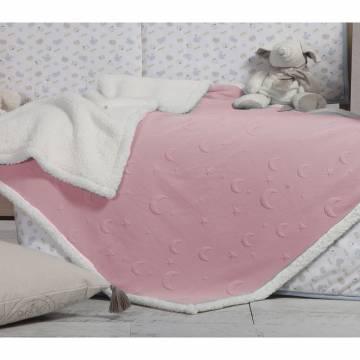 Κουβέρτα Κούνιας Με Γουνάκι Nef-Nef Sky Above Pink 110x140