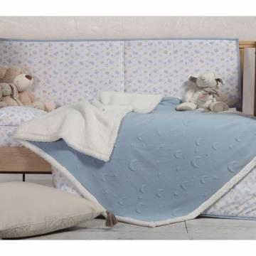 Κουβέρτα Κούνιας Με Γουνάκι Nef-Nef Sky Above Blue 110x140